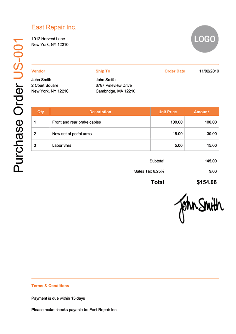 Purchase Order Template Us Modern Orange