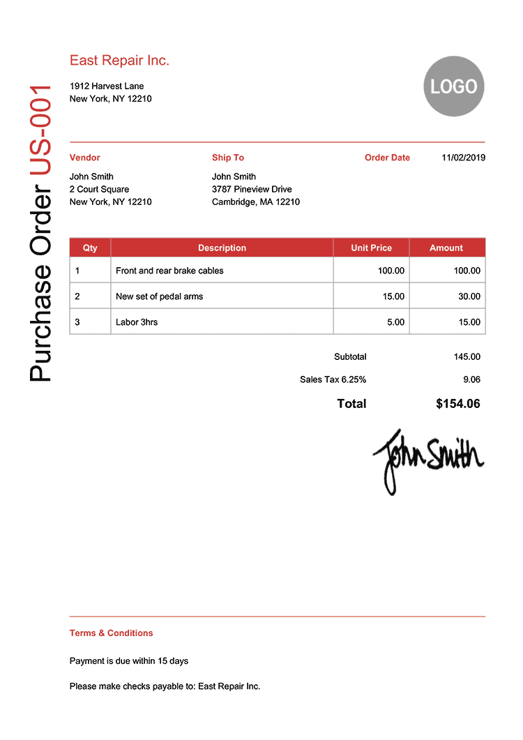 Purchase Order Template Us Modern Red