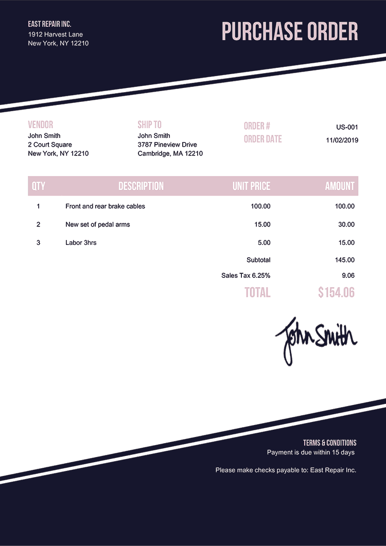 Purchase Order Template Us Modest Black