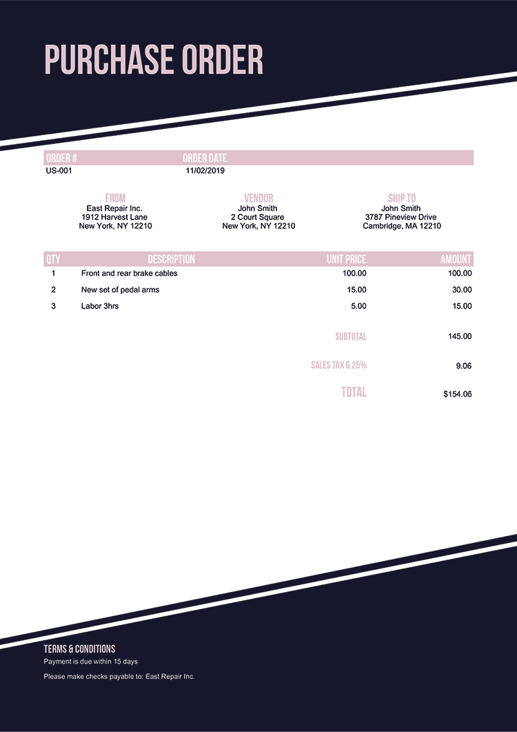 Purchase Order Template Us Modest Black No Logo
