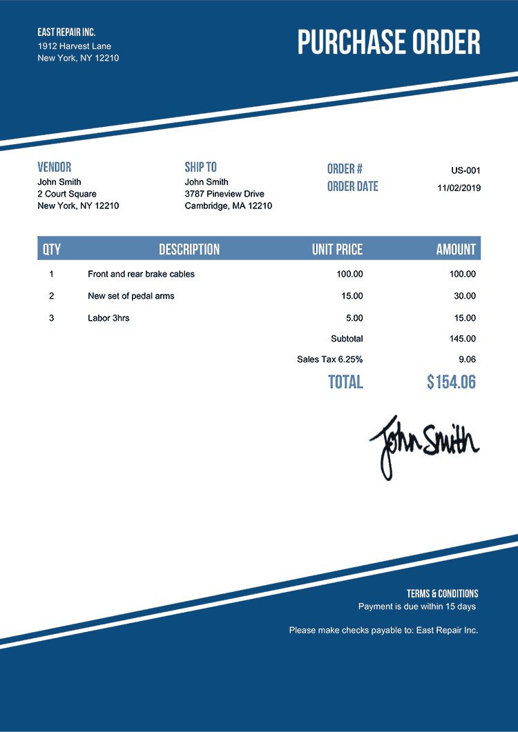 Purchase Order Template Us Modest Blue