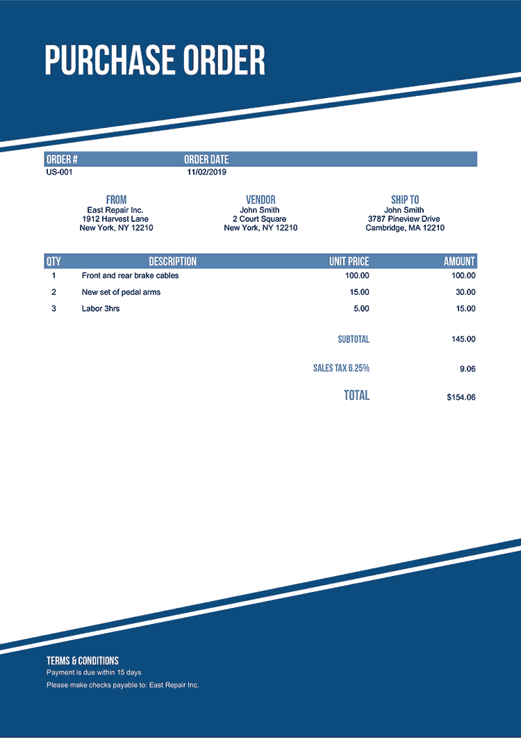 Purchase Order Template Us Modest Blue No Logo