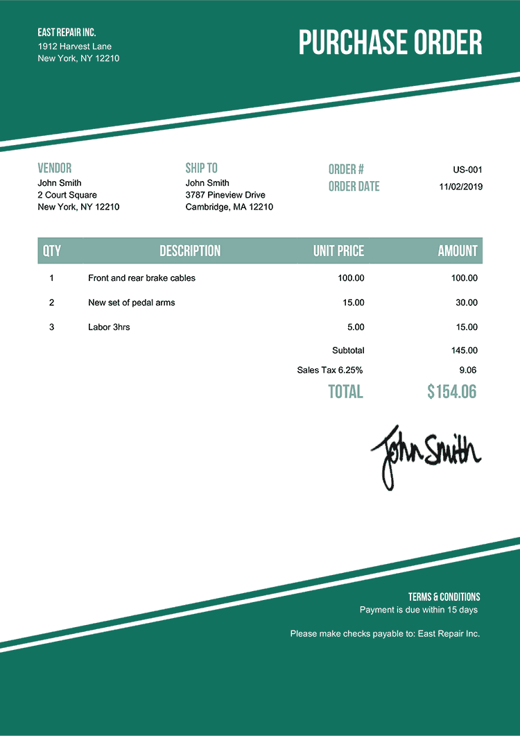 Purchase Order Template Us Modest Green