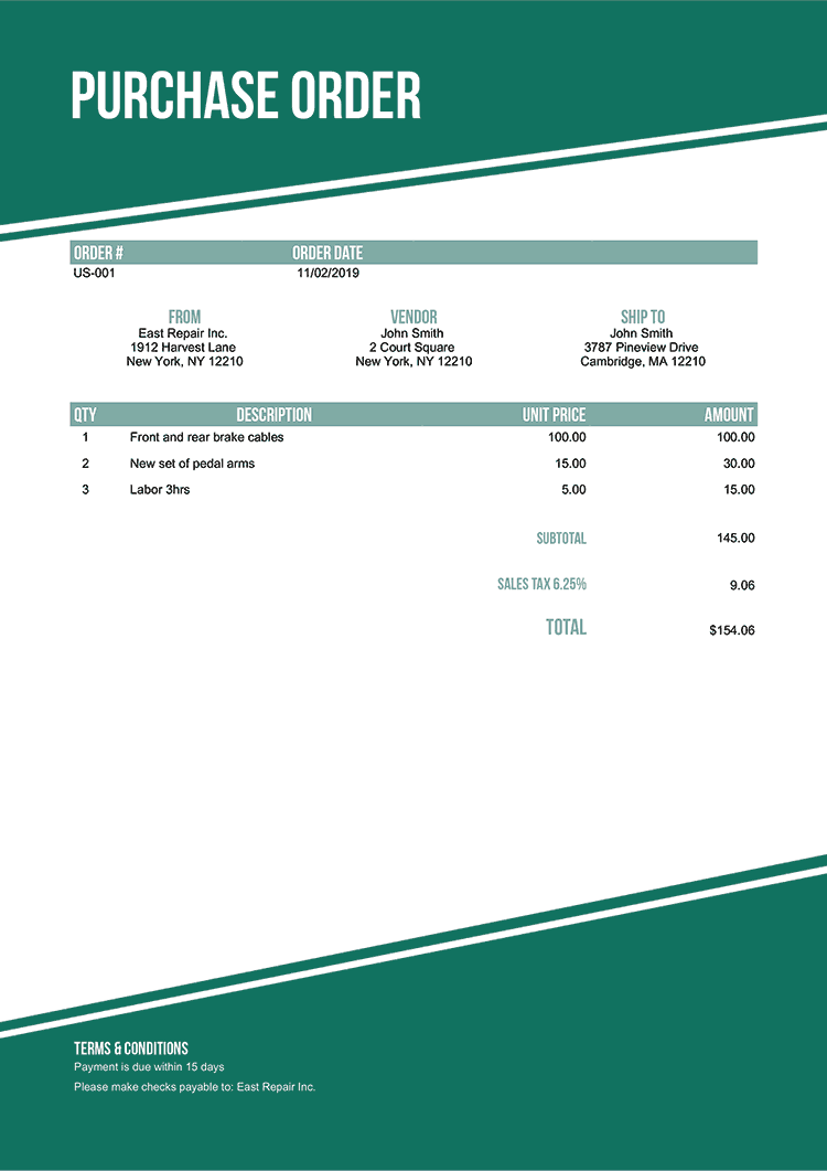 Purchase Order Template Us Modest Green No Logo
