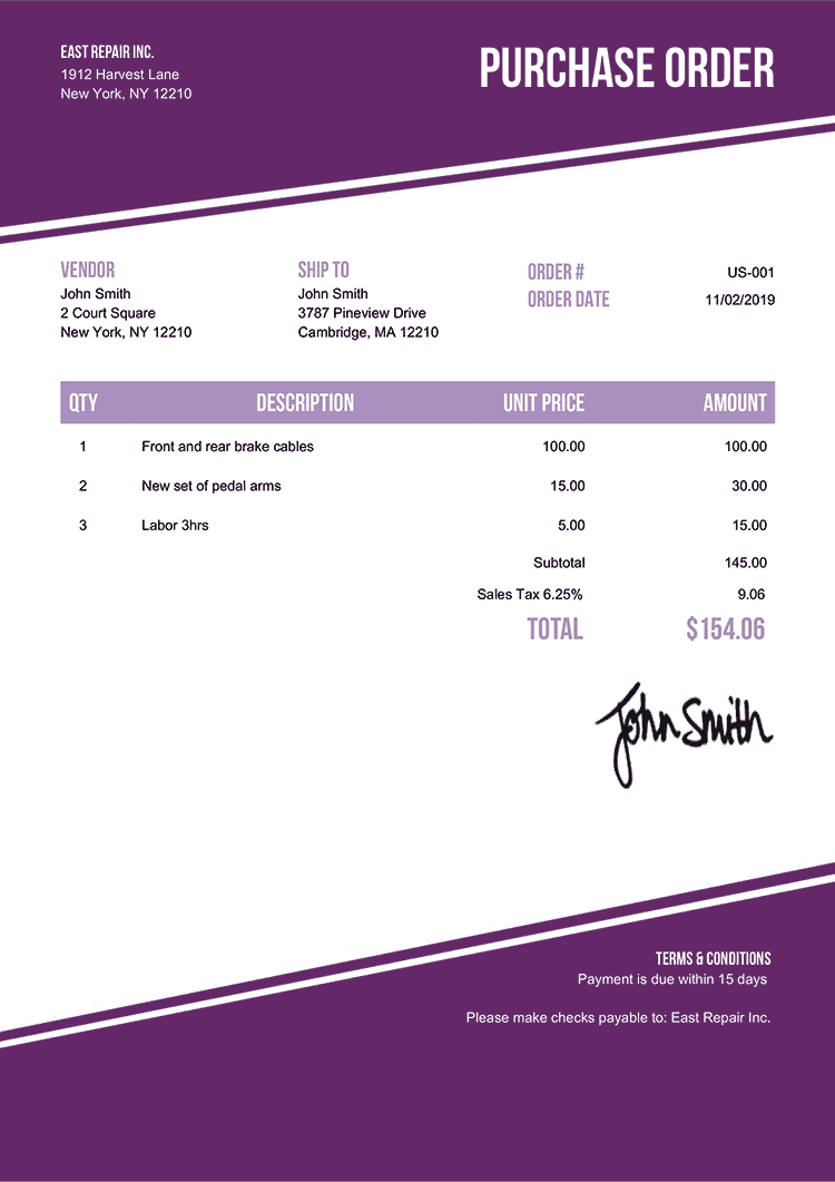Purchase Order Template Us Modest Purple