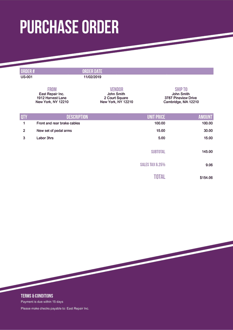 Purchase Order Template Us Modest Purple No Logo