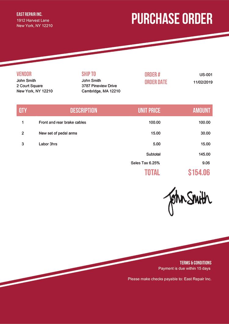 Purchase Order Template Us Modest Red
