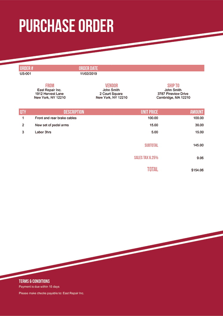 Purchase Order Template Us Modest Red No Logo