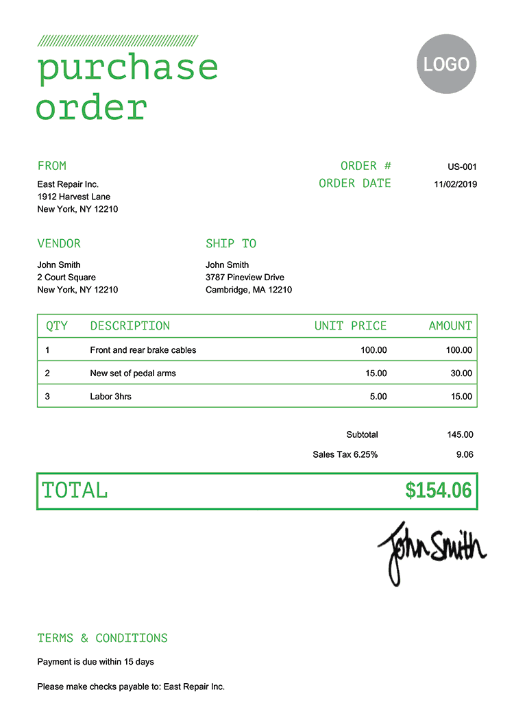 Purchase Order Template Us Mono Green