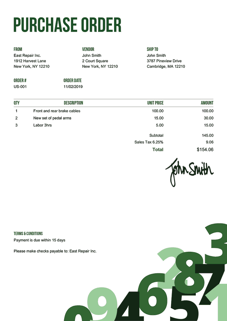 Purchase Order Template Us Numbers Green