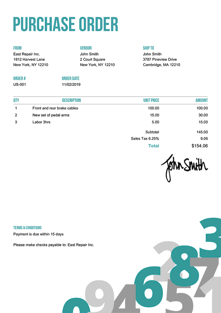 Purchase Order Template Us Numbers Teal
