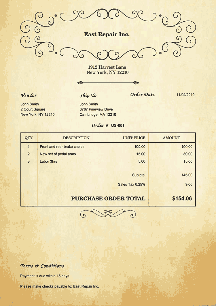 Purchase Order Template Us Oldie No Logo
