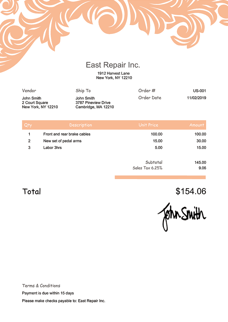 Purchase Order Template Us Ornate Peach