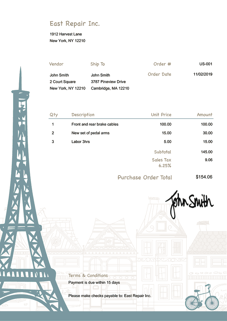 Purchase Order Template Us Paris