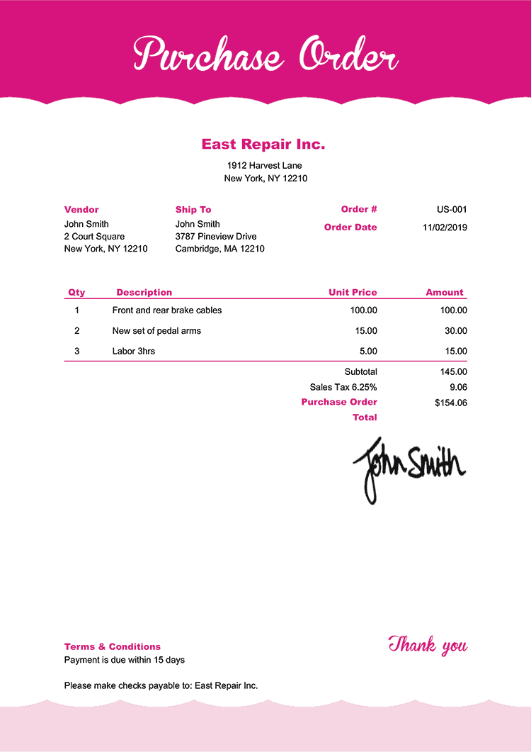Purchase Order Template Us Pink Frosting