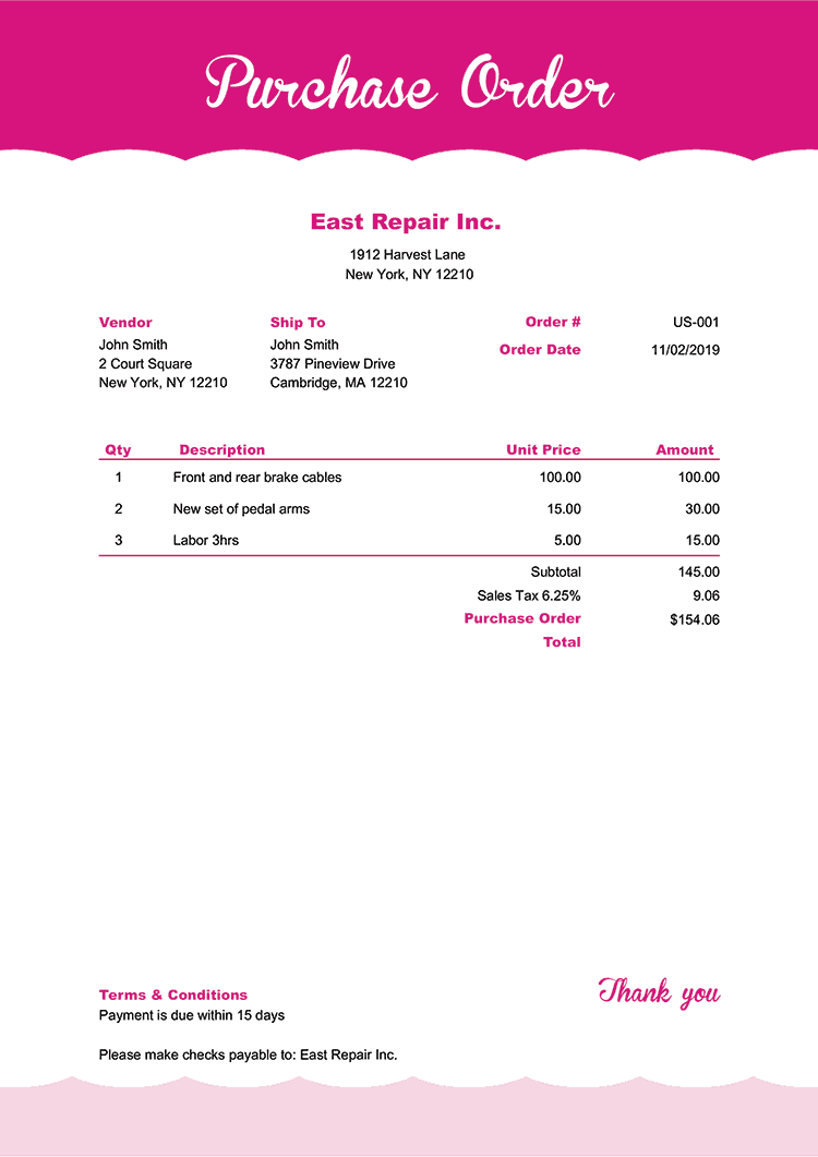 Purchase Order Template Us Pink Frosting No Logo
