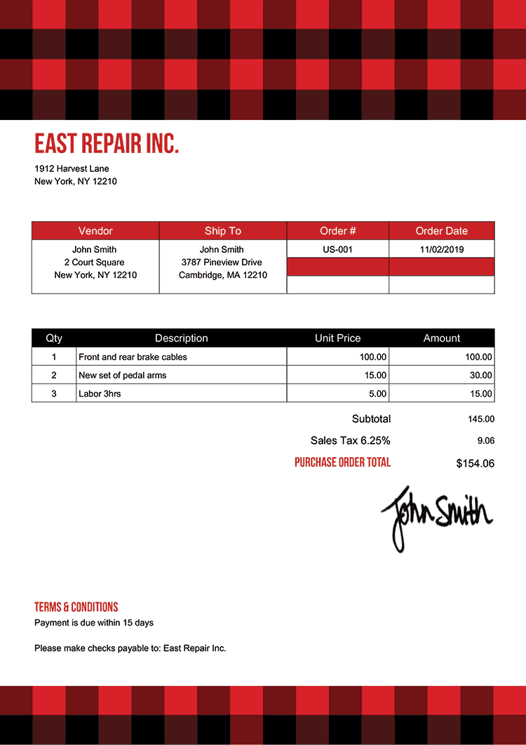 Purchase Order Template Us Plaid Red