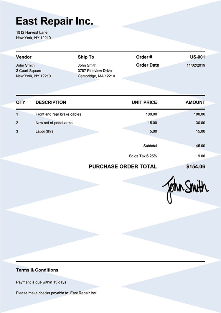Purchase Order Template Us Pure Blue