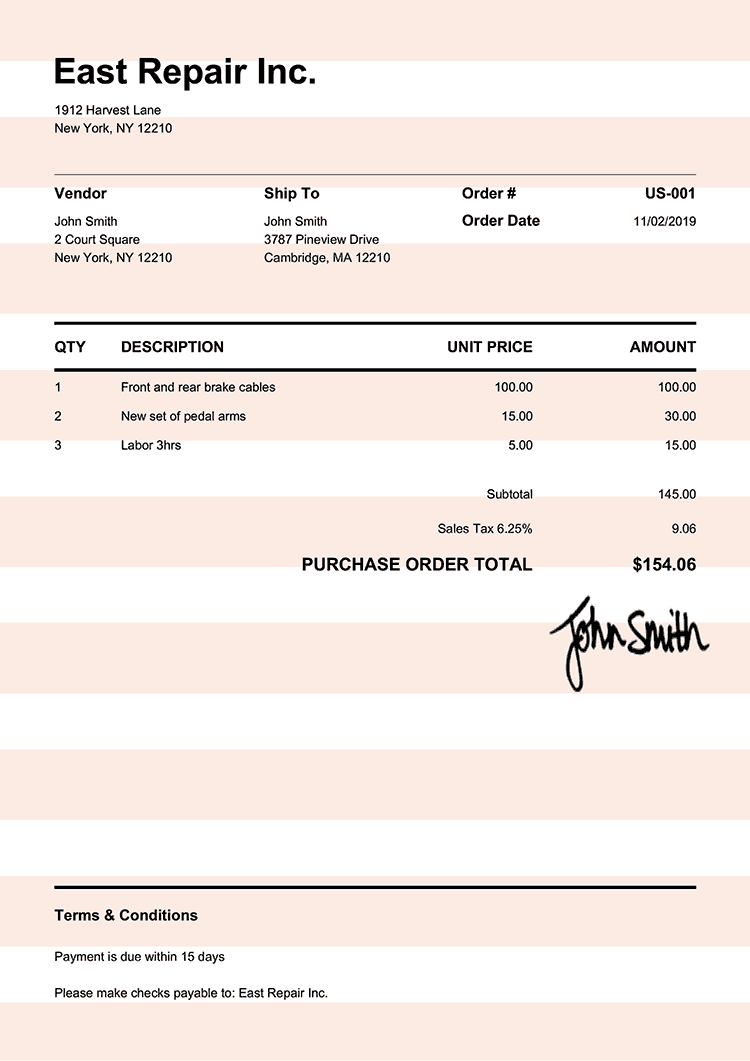 Purchase Order Template Us Pure Orange