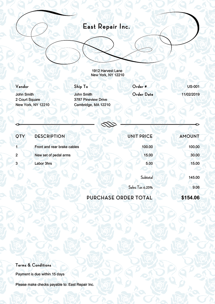 Purchase Order Template Us Rose Blue No Logo
