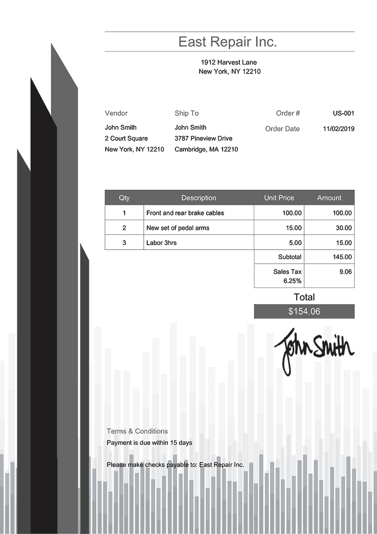 Purchase Order Template Us Success Gray