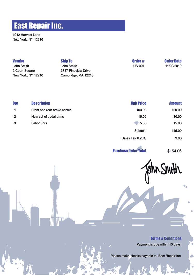 Purchase Order Template Us Sydney