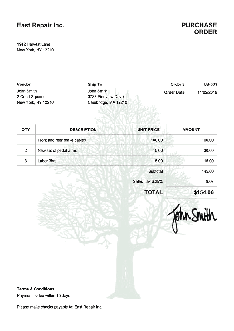 Purchase Order Template Us Tree
