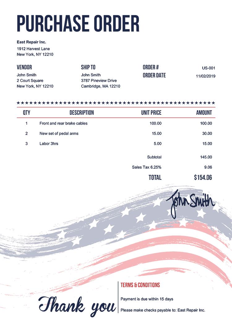 Purchase Order Template Us Us Flag