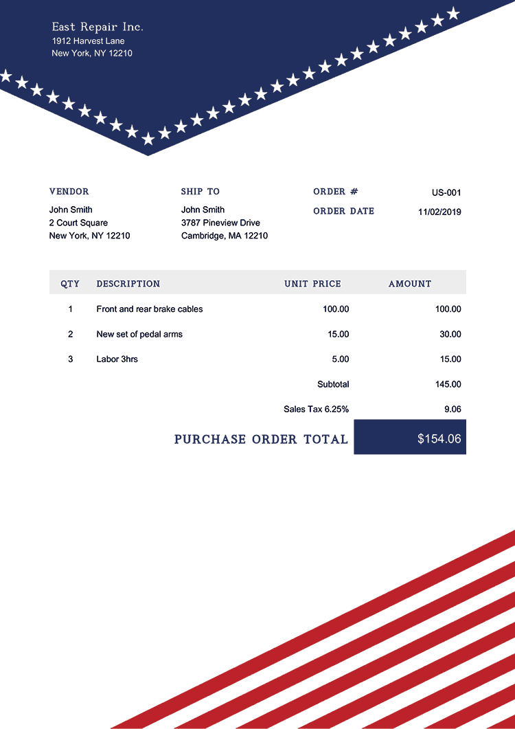 Purchase Order Template Us Us Liberty
