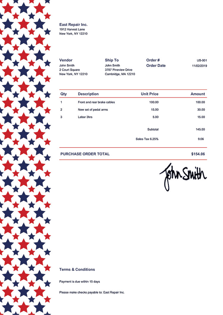 Purchase Order Template Us Us Sequoia