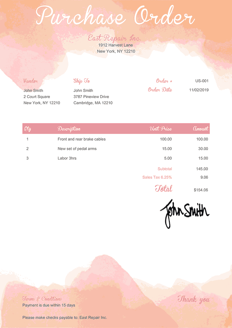 Purchase Order Template Us Watercolor Pink