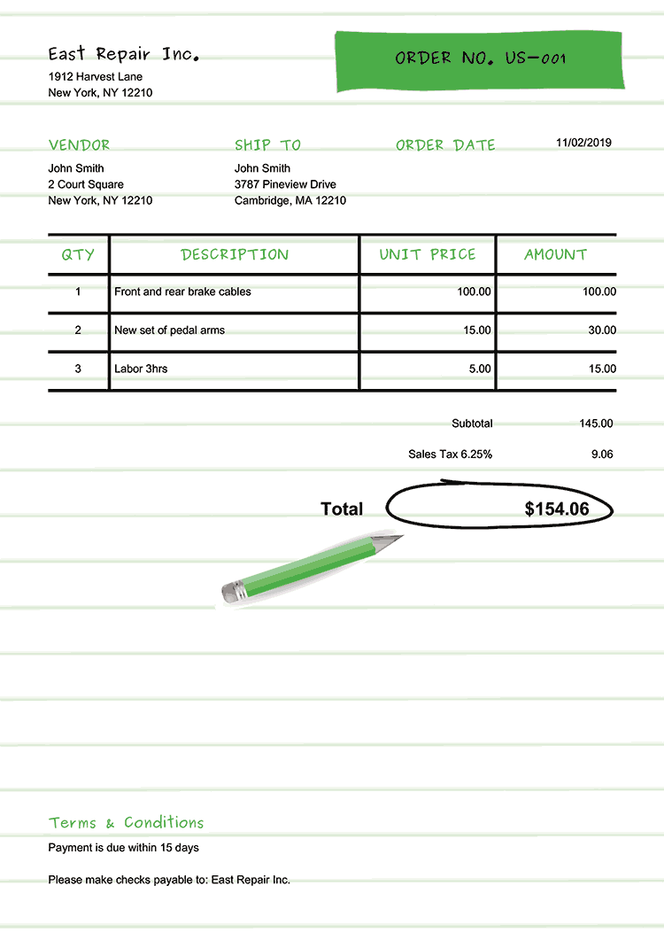 Purchase Order Template Us Workbook Green No Logo