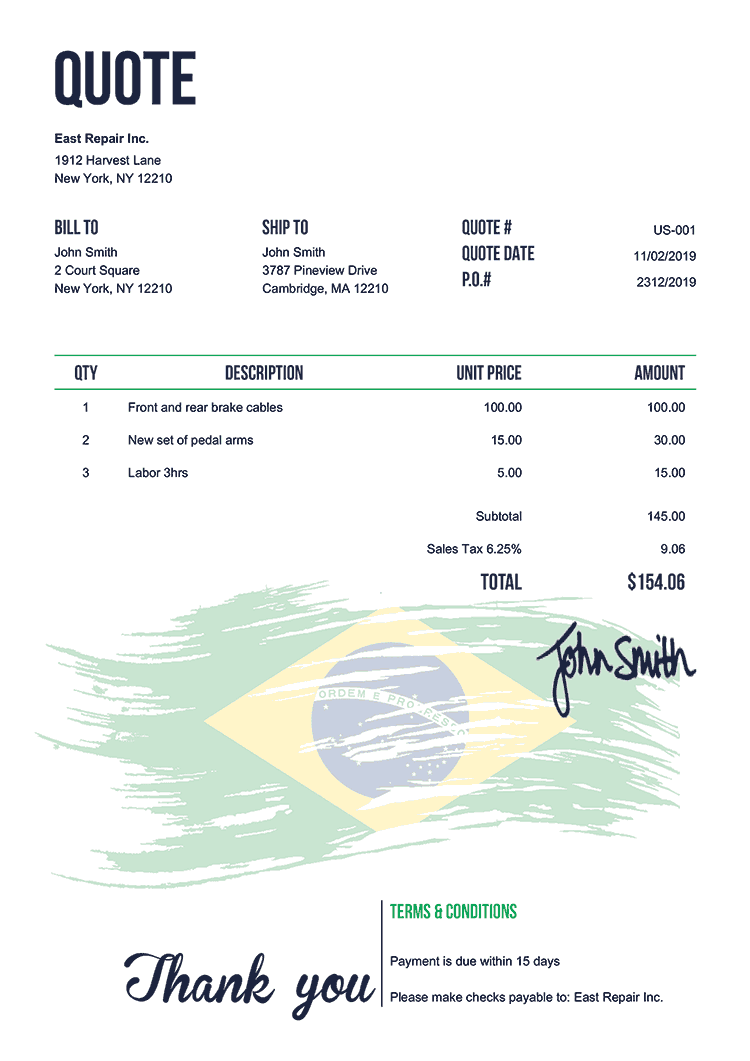 Quote Template Us Flag Of Brazil
