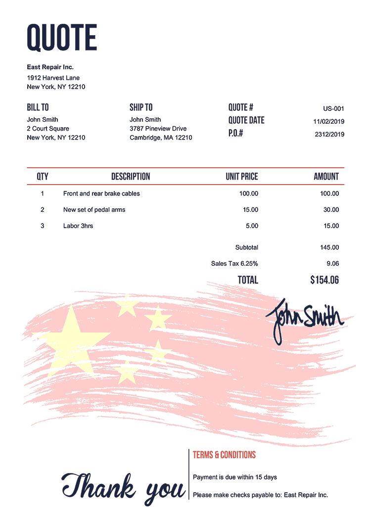 Quote Template Us Flag Of China