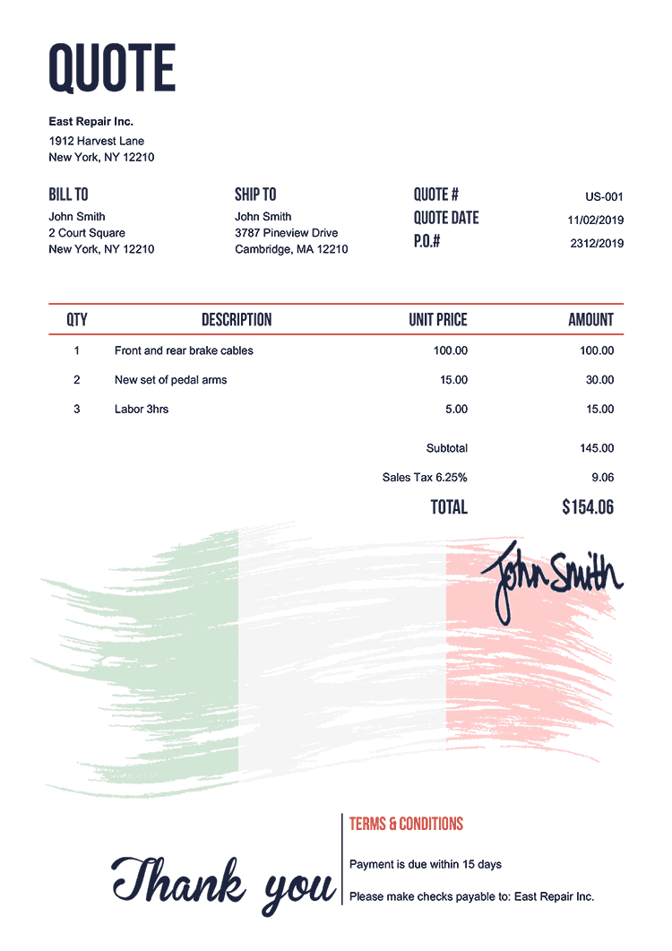 Quote Template Us Flag Of Italy