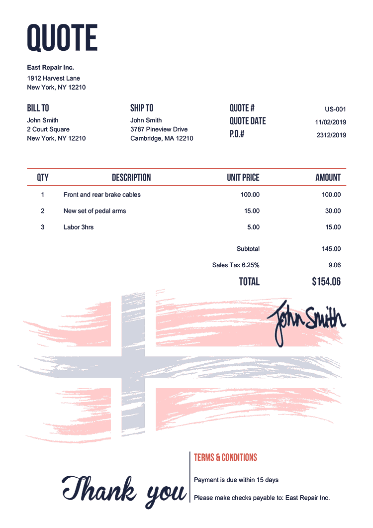 Quote Template Us Flag Of Norway