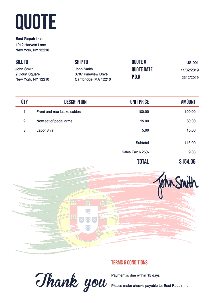 Quote Template Us Flag Of Portugal