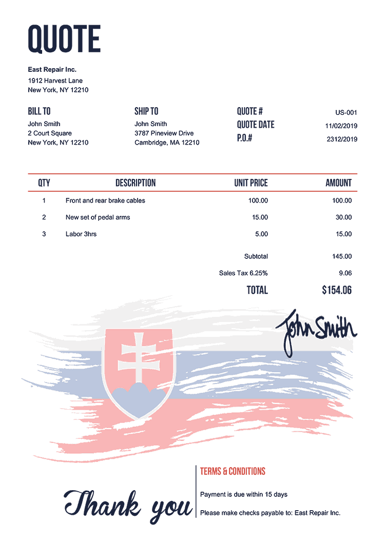 Quote Template Us Flag Of Slovakia