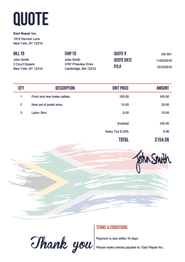 Quote Template Us Flag Of South Africa