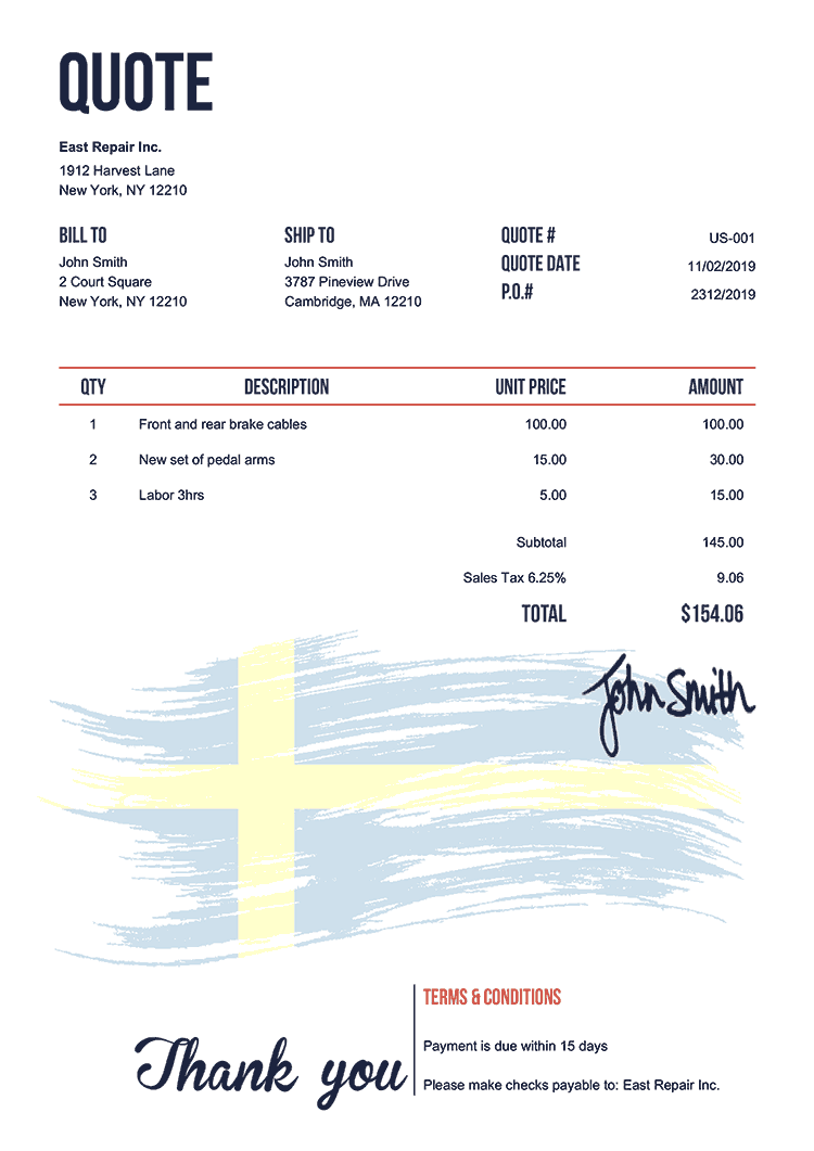 Quote Template Us Flag Of Sweden