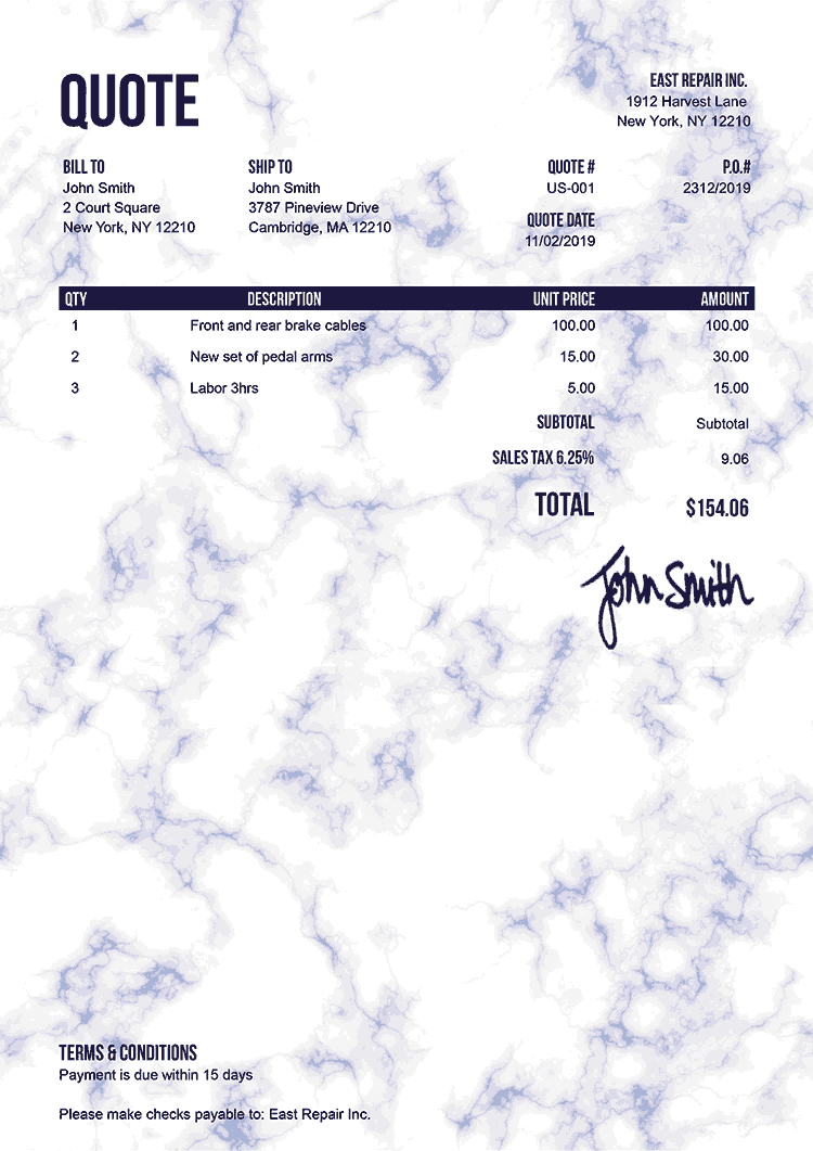 Quote Template Us Marble Blue