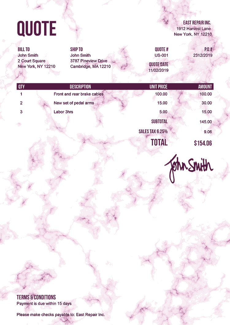 Quote Template Us Marble Pink