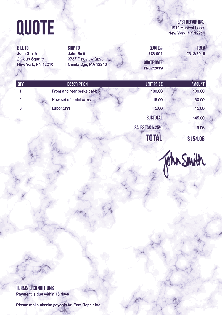 Quote Template Us Marble Purple