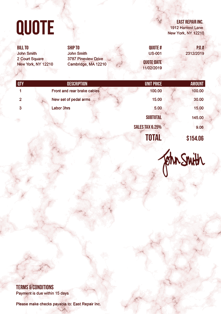Quote Template Us Marble Red