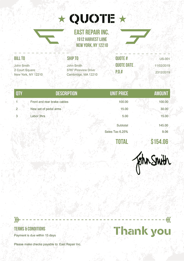 Quote Template Us Military Green