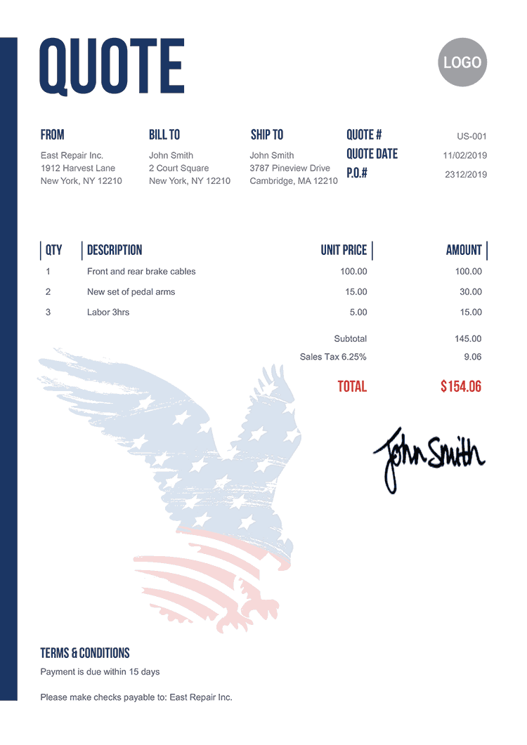 Quote Template Us Us Eagle