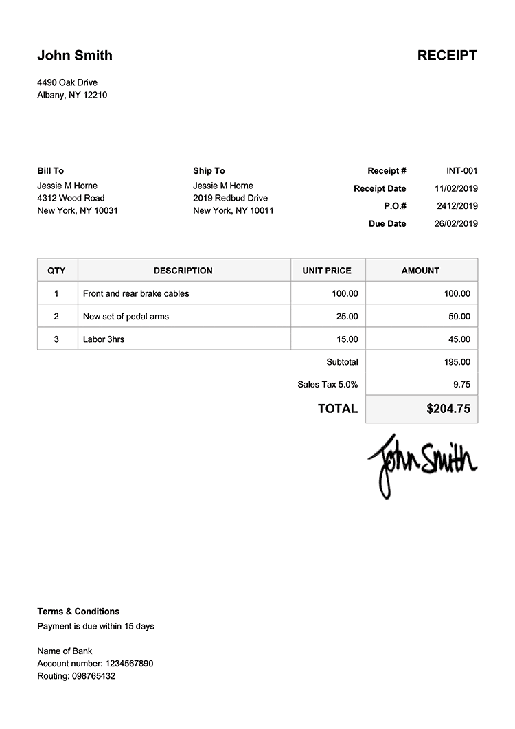 receipt for work done template