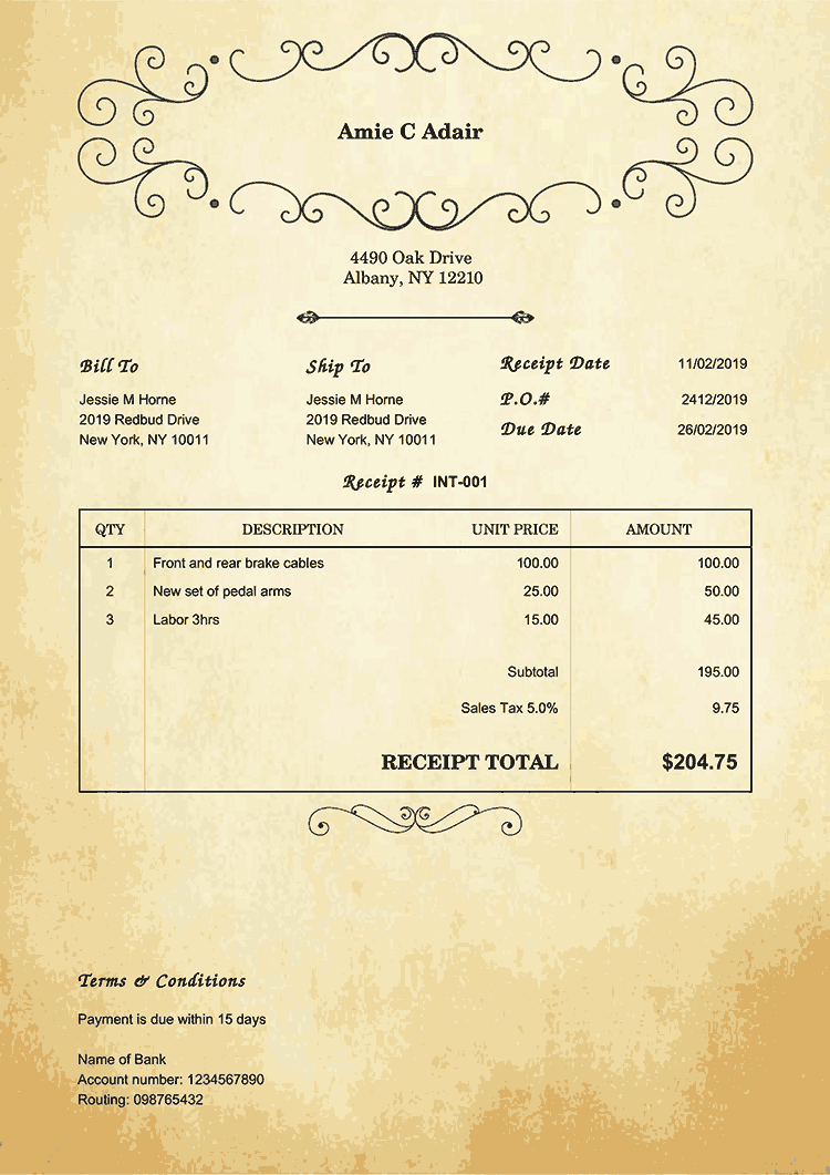 Receipt Template En Oldie No Logo