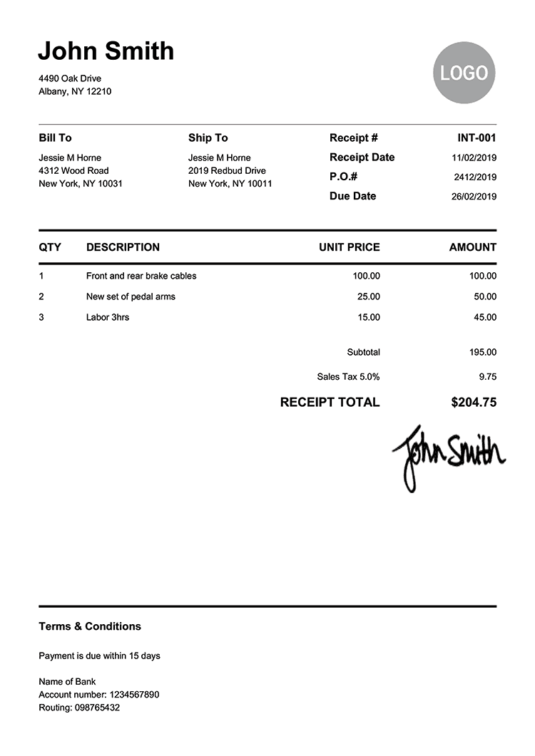 Receipt Template En Pure White