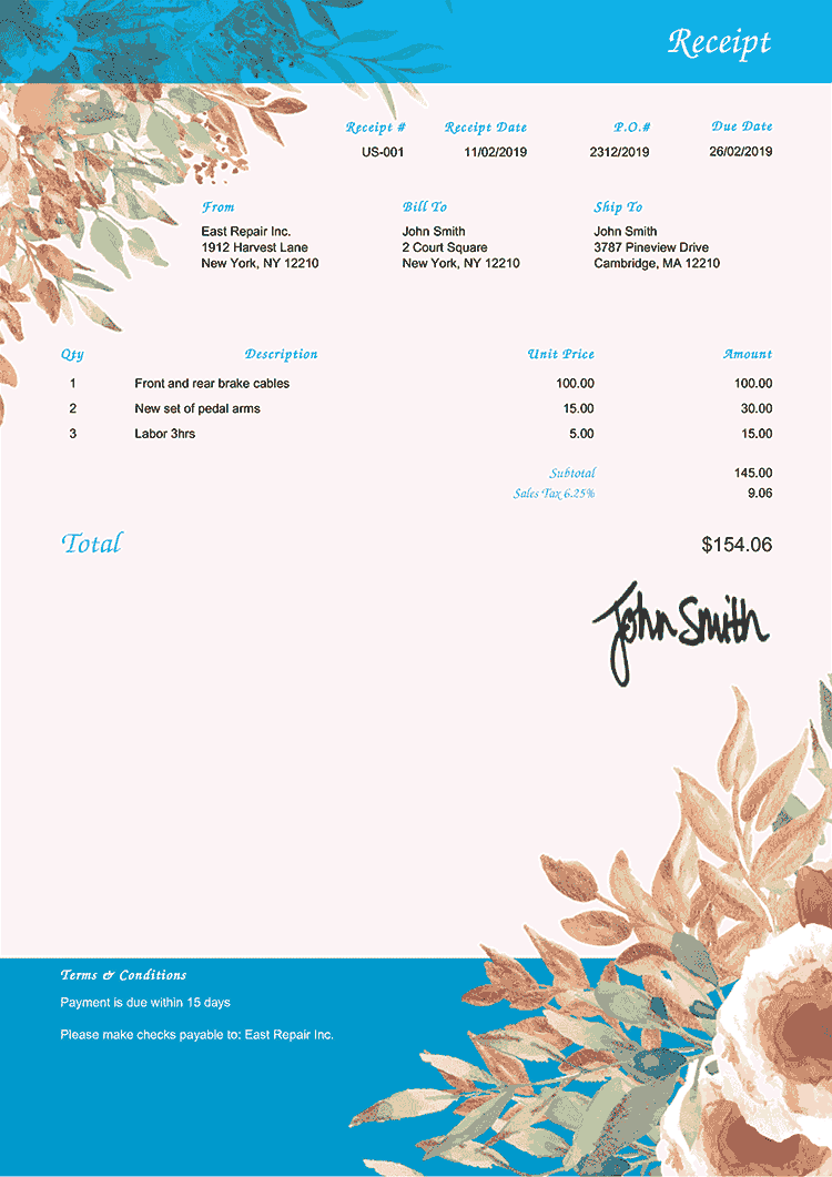 Receipt Template Us Blooming Blue